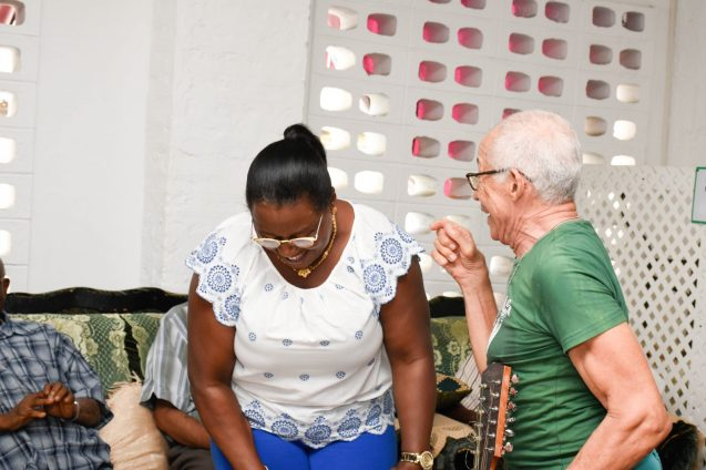 Minister Simona Broomes reminiscing with Father George
