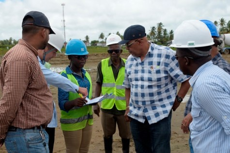 Managing Director of GWI, Dr. Richard Van West-Charles and team being briefed on the ongoing works at Sheet Anchor.
