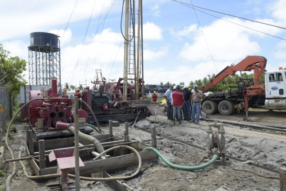 The site in the Port Mourant Water Treatment Plant where the well is being constructed