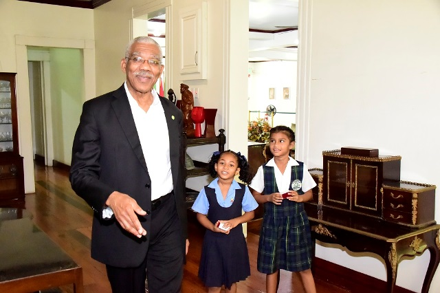 President David Granger gave the girls a guided tour of State House.