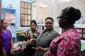 Minister of Public Health, Volda Lawrence getting a tour of the Highdam Health Facility.