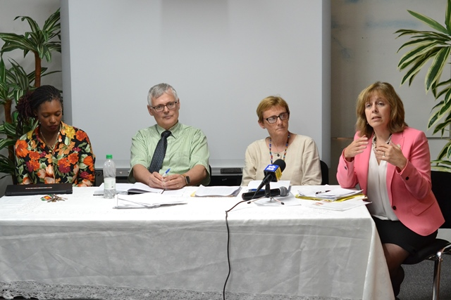 Consultant Paula Cook Mackinnon (far right) engaging educators during consultation. Also, at head table are consultants Joanne Thompkins and Jeffrey Orr and GESIP Project Coordinator Quenita Waldron-Lewis.