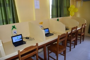 Some of the laptops at the Cane Grove ICT hub.