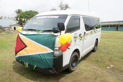 The bus handed over to the Port Kaituma Secondary School.