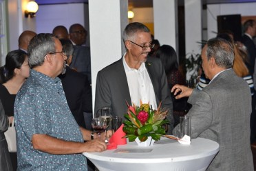 Minister of Business, Dominic Gaskin engaging with private sector members.