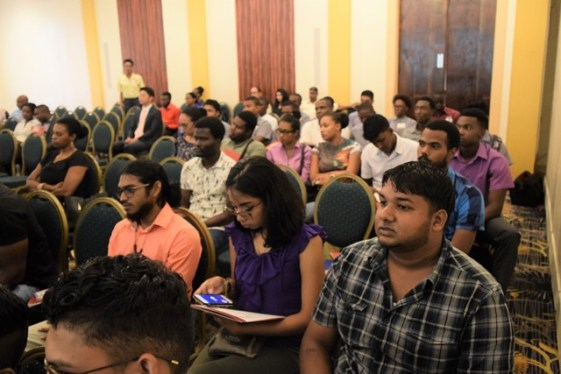 University of Guyana students attending the ASTM's lecture on codes and standards with local students.