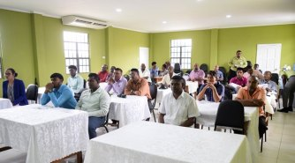The gathering of men who attended the health seminar.