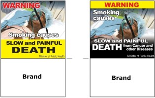 Samples of Graphic Health Warnings designed by the Ministry of Public Health for the tobacco industry to place on labels of products.