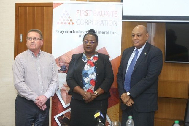 President and CEO of FBX Alan Roughead, Minister of Natural Resources, Raphael Trotman and junior Minister Simona Broomes.