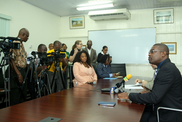 Minister of Public Infrastructure, David Patterson addressing the media.