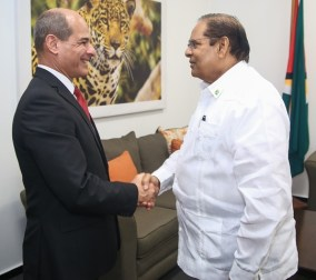 Prime Minister and First Vice President, Moses Nagamotoo and Deputy Minister of Foreign Affairs of the Republic of Cuba, Rogelio Sierra Diaz exchange a handshake.