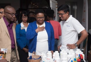 Minister of Public Health Volda Lawrence during a walkabout of Guyana Pharmacists' Association (GPA) convention.