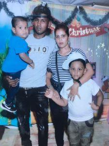 Danesh Persaud with his wife Taramattie Ibrahim and their children.
