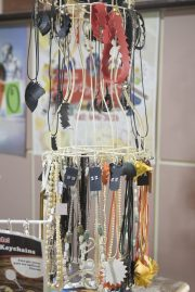 Some of the upcycled tire jewellery made by Everything Makes Craft