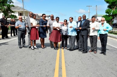 The ceremonial ribbon-cutting to officially commission the improved West Coast Demerara Road.
