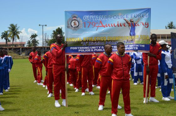 Guyana Police Force's (GPF) Officers lined up before the start of the 63rd annual swimming and athletic championship finals