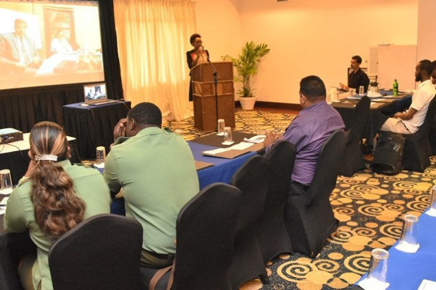 Head of the Office of Climate Change (OCC), Ms. Janelle Christian delivering remarks at the opening of the Greenhouse Gas Inventory (GHG-I) Workshop, held in preparation of the Third National Communication (TNC), a report to be submitted to the United Nations Framework Convention on Climate Change (UNFCCC).
