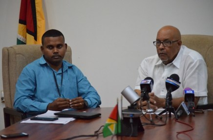 From left to right, Executive Director, GWI, Ramchand Jailall, Managing Director of the Guyana Water Incorporated (GWI), Dr. Richard Van West-Charles.