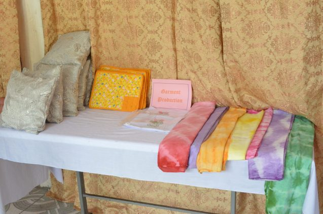 Garment production from a trainee on display