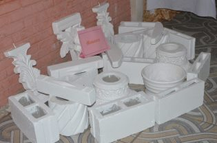 Masonry products from a trainee on display