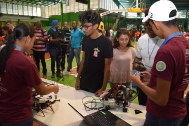 Some of the robots on display at the exhibition.