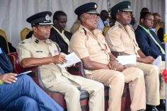 (Left to right) - Assistant Police Commissioner (Operations) Clifton Hicken, Fire Chief, Marlon Gentle and Acting Director of Prisons, Gladwin Samuels