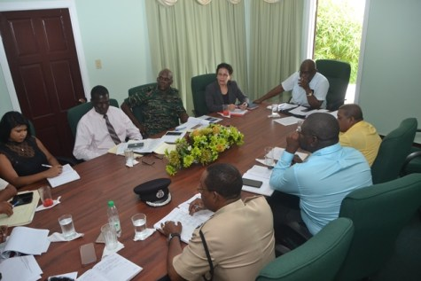 Heads of several government agencies during the meeting.