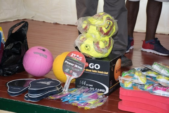 Some of the sport gear handed over to the youths.