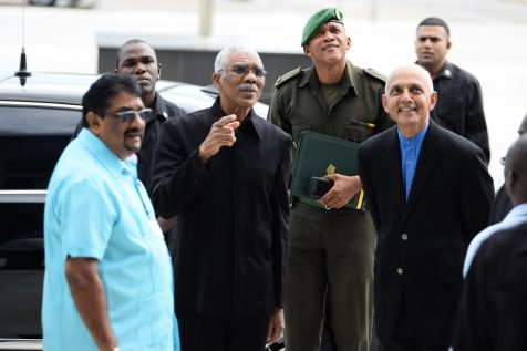 President David Granger and Minister of Communities, Ronald Bulkan along with local government officials