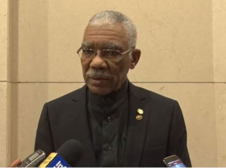 President Granger speaking to the media on the sidelines of the 39th Meeting of the Conference of Heads of Government of CARICOM.