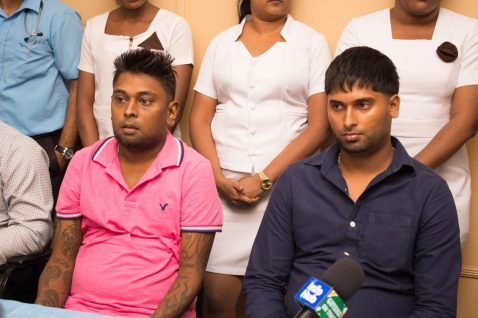 [from left] Ravi Naraine recipient of kidney from Kumarie Budhoo and his brother Ganshame Naraine.