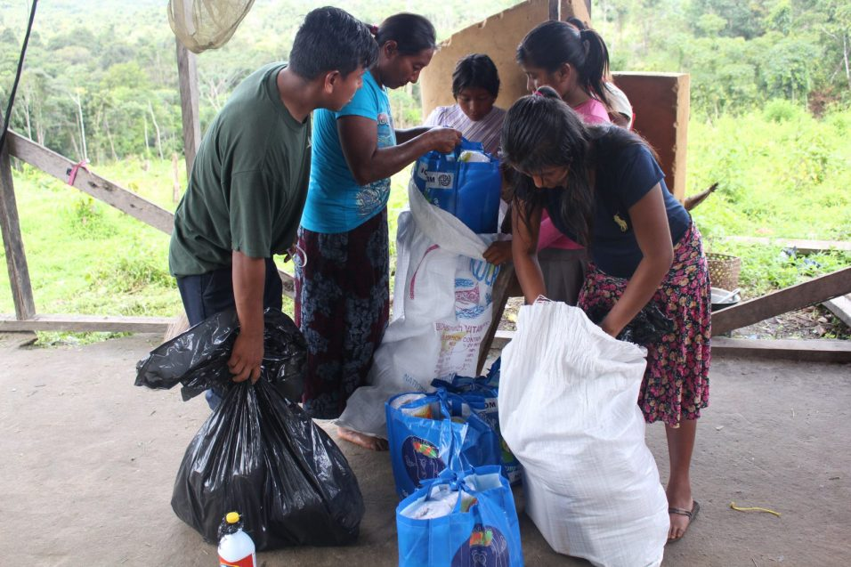 A Venezuelan Migrant Family with their donated items