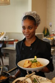 Trainee Chef at Guyana Marriott's Terra Mare Restaurant, Sarafina Edghill poses with an entrée she prepared. (Entrée- Pasta Bolognese/ Marinara)