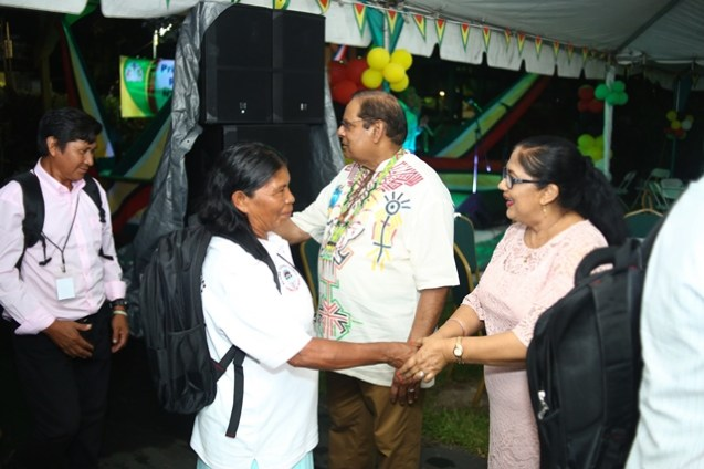 Prime Minister Moses Nagamootoo and his wife, Mrs. Sita Nagamootoo welcomes Toshaos and Senior Councillors at the reception.