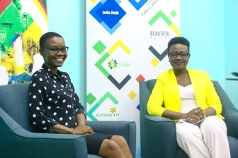 Queen's Young Leader, Marva Langevine and DPI's Senior Communications Officer, Stacy Carmichael during a recent interview.