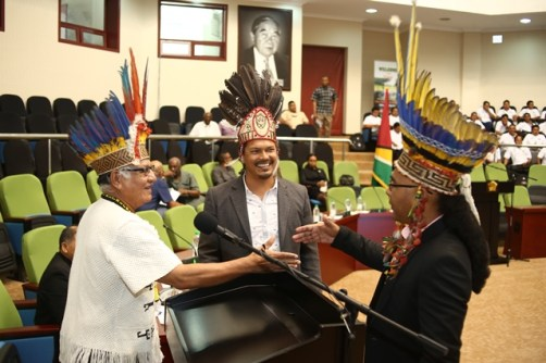 [In the photo, from left] Logistics Officer Amerindian Development Fund Project, Ovid Williams, outgoing Vice-Chairman of the NTC, Lennox Shuman and outgoing Chairman of the NTC, Joel Fredericks.