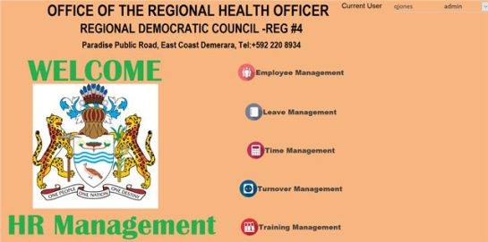 A snapshot of the health department's Human Resource Database.