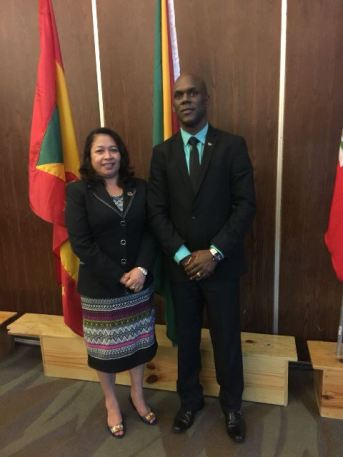 Minister of Public Affairs, MOTP, Dawn Hastings-Williams and Director General (ag), CDC, Lt. Col. Kester Craig.