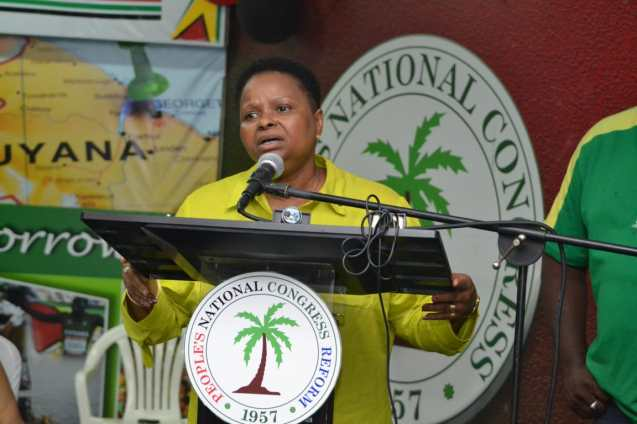 Newly elected Chairperson of the People's National Congress Reform (PNCR) Minister of Public Health. Volda Lawrence