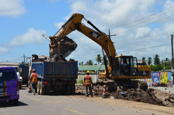 Ongoing road widening works in the vicinity of Lusignan, East Coast of Demerara