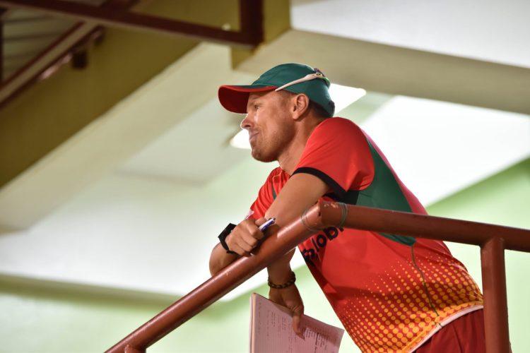 Head Coach, Johan Botha with a keen eye on the warm-up match