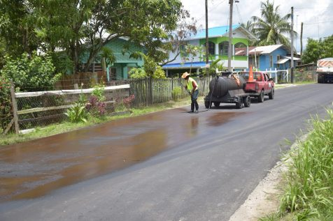 Spraying of the road