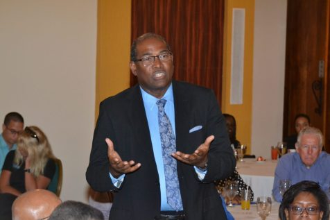 Attorney-at-law Nigel Hughes raising a concern at the Business Luncheon at the Pegasus Hotel, Kingston