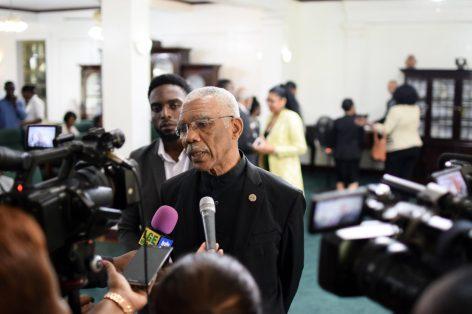 President Granger speaking to the media today