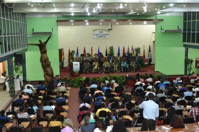 Officers of the University of Guyana welcome new students