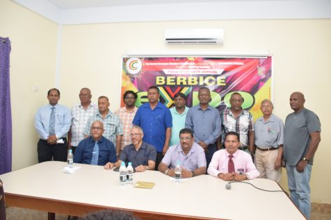 [Front row, from left] President of the Corentyne Chambers of Commerce, Poonai Bhigroog, Minister of Business, Dominic Gaskin, Chairman of Region Six, David Armogan, Chairperson, Tejpaul Adjodhea pose for a picture with stakeholders at the launch of Berbice expo 2018
