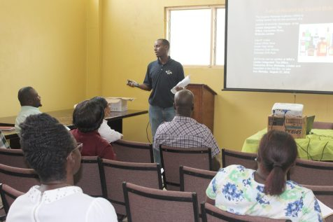 GRA's Communication Officer Fabian Clowes speaking to members of the Linden Chamber of Commerce