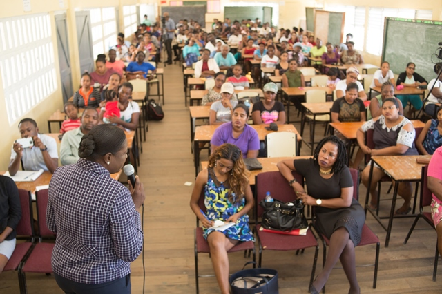 Minister of Education, Nicolette Henry interacting with the parents and teachers at the Hope Secondary School, East Bank Demerara.