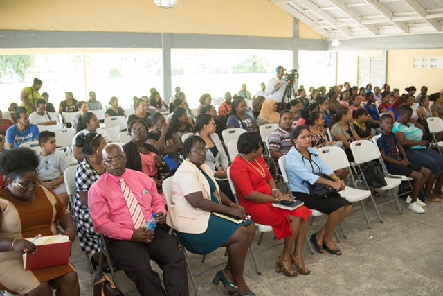 Teachers and parents at the meeting at the West Demerara Secondary School, Region Three.