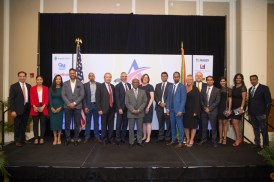 Board of Directors of AmCham Guyana pose with Foreign Affairs Minister, Carl Greenidge who is also performing the duties of Prime Minister, Minister of Business, Dominic Gaskin, US Ambassador Perry Holloway and Vice President of the US Chamber of Commerce Anne MCKinney